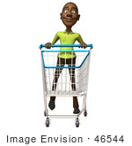 #46544 Royalty-Free (Rf) Illustration Of A 3d Casual Black Man Mascot Pushing A Shopping Cart - Version 4
