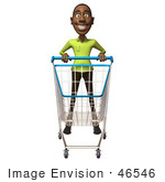 #46546 Royalty-Free (Rf) Illustration Of A 3d Casual Black Man Mascot Pushing A Shopping Cart - Version 1