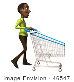 #46547 Royalty-Free (Rf) Illustration Of A 3d Casual Black Man Mascot Pushing A Shopping Cart - Version 2