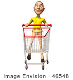 #46548 Royalty-Free (Rf) Illustration Of A 3d Casual White Man Mascot Pushing A Shopping Cart - Version 3