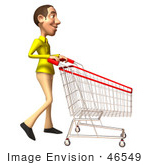 #46549 Royalty-Free (Rf) Illustration Of A 3d Casual White Man Mascot Pushing A Shopping Cart - Version 1