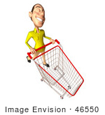 #46550 Royalty-Free (Rf) Illustration Of A 3d Casual White Man Mascot Pushing A Shopping Cart - Version 5