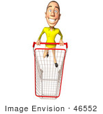 #46552 Royalty-Free (Rf) Illustration Of A 3d Casual White Man Mascot Pushing A Shopping Cart - Version 6