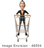 #46554 Royalty-Free (Rf) Illustration Of A 3d White Businessman Mascot Pushing A Shopping Cart - Version 1