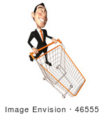 #46555 Royalty-Free (Rf) Illustration Of A 3d White Businessman Mascot Pushing A Shopping Cart - Version 6