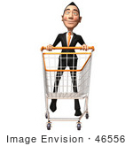 #46556 Royalty-Free (Rf) Illustration Of A 3d White Businessman Mascot Pushing A Shopping Cart - Version 4