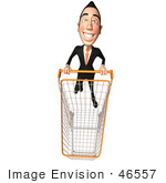 #46557 Royalty-Free (Rf) Illustration Of A 3d White Businessman Mascot Pushing A Shopping Cart - Version 5