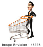 #46558 Royalty-Free (Rf) Illustration Of A 3d White Businessman Mascot Pushing A Shopping Cart - Version 3