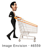 #46559 Royalty-Free (Rf) Illustration Of A 3d White Businessman Mascot Pushing A Shopping Cart - Version 2