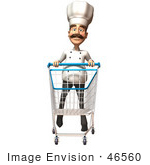 #46560 Royalty-Free (Rf) Illustration Of A 3d Chef Henry Mascot Pushing A Shopping Cart - Version 3