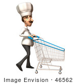 #46562 Royalty-Free (Rf) Illustration Of A 3d Chef Henry Mascot Pushing A Shopping Cart - Version 5