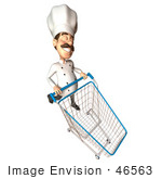 #46563 Royalty-Free (Rf) Illustration Of A 3d Chef Henry Mascot Pushing A Shopping Cart - Version 1