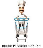 #46564 Royalty-Free (Rf) Illustration Of A 3d Chef Henry Mascot Pushing A Shopping Cart - Version 6