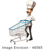 #46565 Royalty-Free (Rf) Illustration Of A 3d Chef Henry Mascot Pushing A Shopping Cart - Version 4