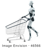 #46566 Royalty-Free (Rf) Illustration Of A 3d Female Robot Mascot Pushing A Shopping Cart - Version 2