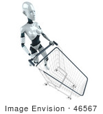 #46567 Royalty-Free (Rf) Illustration Of A 3d Female Robot Mascot Pushing A Shopping Cart - Version 3