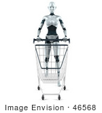 #46568 Royalty-Free (Rf) Illustration Of A 3d Female Robot Mascot Pushing A Shopping Cart - Version 1