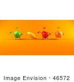 #46572 Royalty-Free (Rf) Illustration Of A Line Of 3d Green Apple Banana Strawberry And Orange Mascots Doing Hand Stands - Version 2
