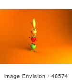 #46574 Royalty-Free (Rf) Illustration Of 3d Green Apple Banana Strawberry And Orange Mascots Standing On Top Of Each Other - Version 4