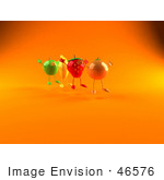 #46576 Royalty-Free (Rf) Illustration Of 3d Green Apple Banana Strawberry And Orange Mascots Jumping In A Line - Version 3