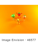 #46577 Royalty-Free (Rf) Illustration Of A 3d Green Apple Banana Strawberry And Orange Mascots Jumping In A Circle - Version 2