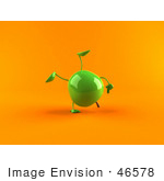 #46578 Royalty-Free (Rf) Illustration Of A 3d Green Apple Mascot Doing A Cartwheel - Version 2