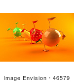 #46579 Royalty-Free (Rf) Illustration Of 3d Green Apple Banana Strawberry And Orange Mascots Doing Cartwheels In A Line - Version 2