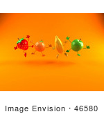 #46580 Royalty-Free (Rf) Illustration Of A Line Of 3d Green Apple Banana Strawberry And Orange Mascots Leaping