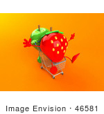#46581 Royalty-Free (Rf) Illustration Of A 3d Green Apple Mascot Pushing A Strawberry In A Shopping Cart - Version 4
