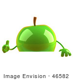 #46582 Royalty-Free (Rf) Illustration Of A 3d Green Apple Mascot Giving The Thumbs Up And Standing Behind A Blank Sign