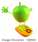 #46583 Royalty-Free (Rf) Illustration Of A 3d Green Apple Mascot Standing On A Scale - Version 4