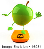 #46584 Royalty-Free (Rf) Illustration Of A 3d Green Apple Mascot Standing On A Scale - Version 3