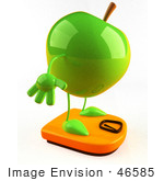 #46585 Royalty-Free (Rf) Illustration Of A 3d Green Apple Mascot Standing On A Scale - Version 2
