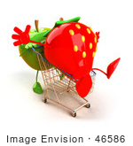 #46586 Royalty-Free (Rf) Illustration Of A 3d Green Apple Mascot Pushing A Strawberry In A Shopping Cart - Version 1