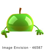 #46587 Royalty-Free (Rf) Illustration Of A 3d Green Apple Mascot Pointing To And Standing Behind A Blank Sign