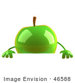 #46588 Royalty-Free (Rf) Illustration Of A 3d Green Apple Mascot Standing Behind A Blank Sign