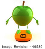 #46589 Royalty-Free (Rf) Illustration Of A 3d Green Apple Mascot Standing On A Scale - Version 1