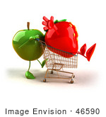 #46590 Royalty-Free (Rf) Illustration Of A 3d Green Apple Mascot Pushing A Strawberry In A Shopping Cart - Version 2