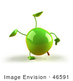 #46591 Royalty-Free (Rf) Illustration Of A 3d Green Apple Mascot Doing A Cartwheel - Version 1