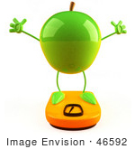 #46592 Royalty-Free (Rf) Illustration Of A 3d Green Apple Mascot Standing On A Scale