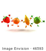 #46593 Royalty-Free (Rf) Illustration Of A Line Of 3d Orange Banana Green Apple And Strawberry Mascots Jumping