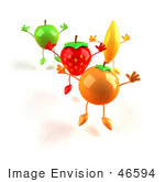#46594 Royalty-Free (Rf) Illustration Of 3d Green Apple Banana Strawberry And Orange Mascots Jumping In A Line - Version 1