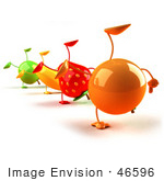#46596 Royalty-Free (Rf) Illustration Of 3d Green Apple Banana Strawberry And Orange Mascots Doing Cartwheels In A Line - Version 1