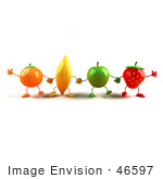 #46597 Royalty-Free (Rf) Illustration Of A Line Of 3d Orange Banana Green Apple And Strawberry Mascots Holding Hands