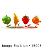 #46598 Royalty-Free (Rf) Illustration Of 3d Green Apple Banana Strawberry And Orange Mascots Marching Right - Version 1