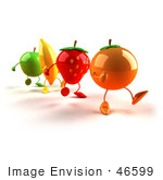 #46599 Royalty-Free (Rf) Illustration Of 3d Green Apple Banana Strawberry And Orange Mascots Marching Forward - Version 1