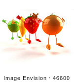 #46600 Royalty-Free (RF) Illustration Of 3d Green Apple, Banana, Strawberry And Orange Mascots Jumping In A Line - Version 2 by Julos