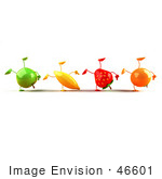 #46601 Royalty-Free (Rf) Illustration Of A Line Of 3d Green Apple Banana Strawberry And Orange Mascots Doing Hand Stands - Version 1