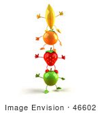 #46602 Royalty-Free (Rf) Illustration Of 3d Green Apple Banana Strawberry And Orange Mascots Standing On Top Of Each Other - Version 2
