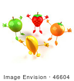 #46604 Royalty-Free (Rf) Illustration Of 3d Green Apple Banana Strawberry And Orange Mascots Jumping In A Circle - Version 1